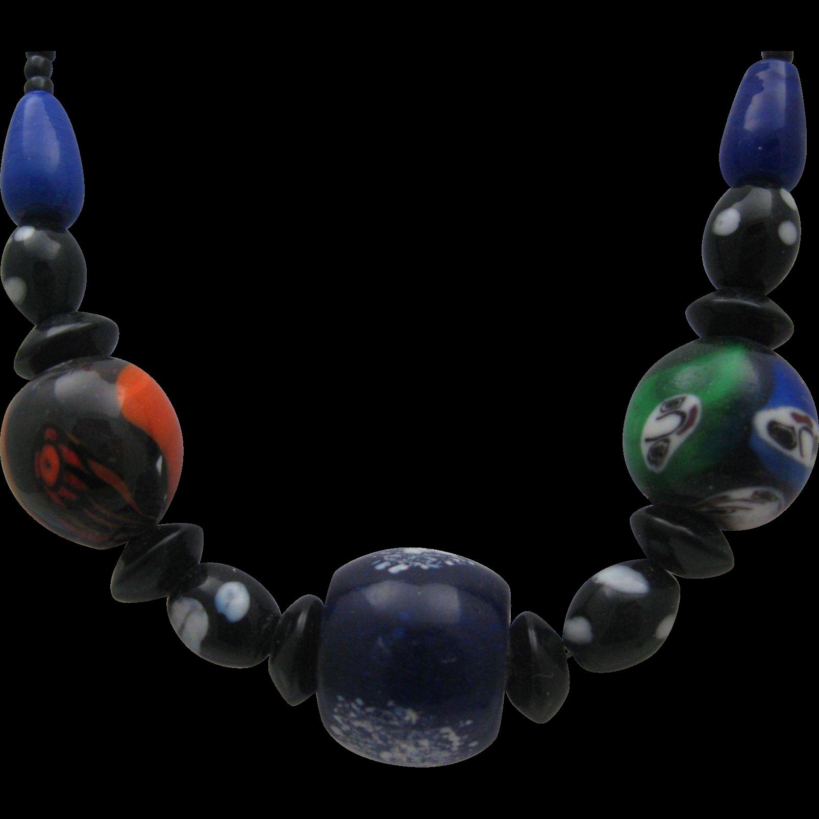 Italian Art Deco Millefiori Glass Necklace Choker style