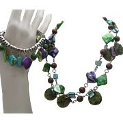 Blue Green Mother of Pearl Necklace Set