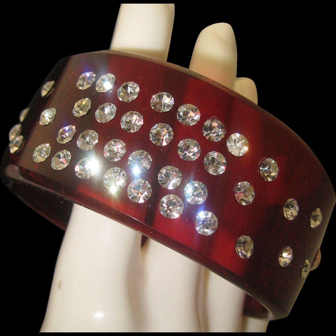 Root Beer Deco Style Rhinestone Lucite bracelet