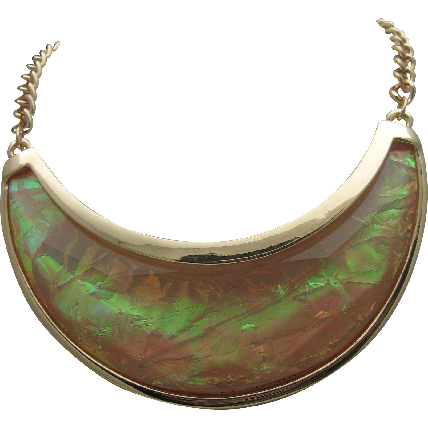 Modern Mother of Pearl Lucite Bib Necklace