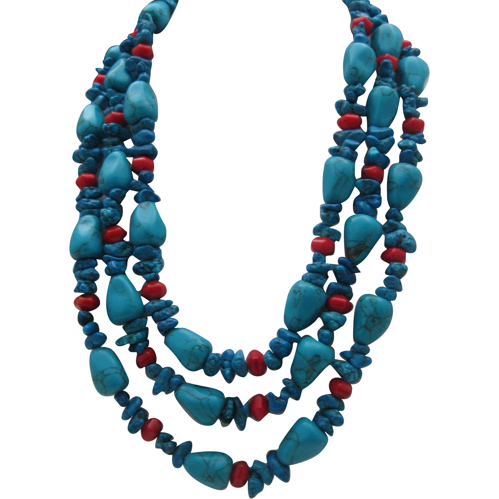 Three Strands Turquoise and Coral Nugget Chunk Necklace