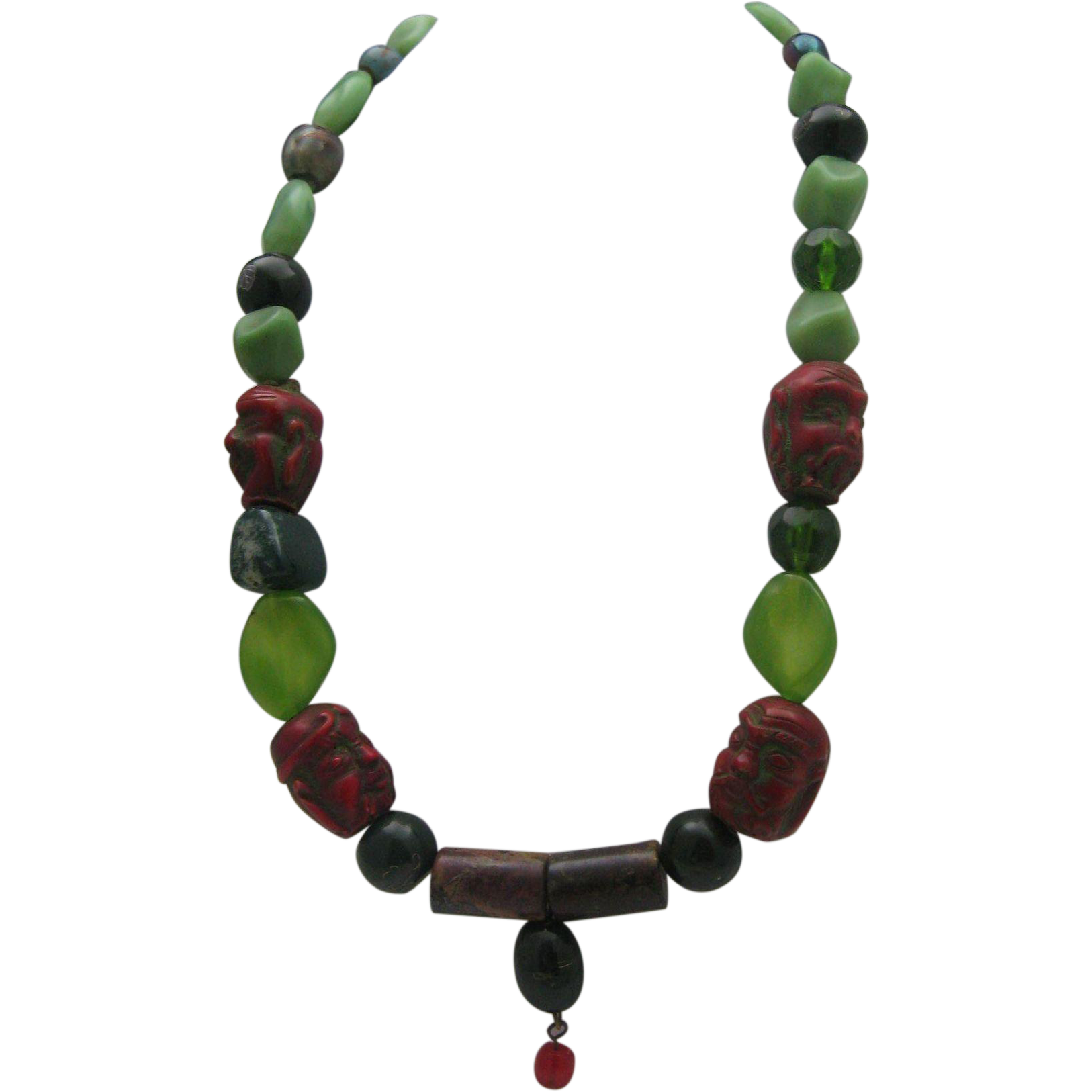 Chinese Demon Face Jade Green Nugget Necklace