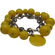 Funky 60's Yellow Celluloid Bead Bracelet