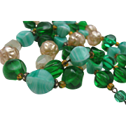 Mid Century 2 Stand Green Glass Necklace