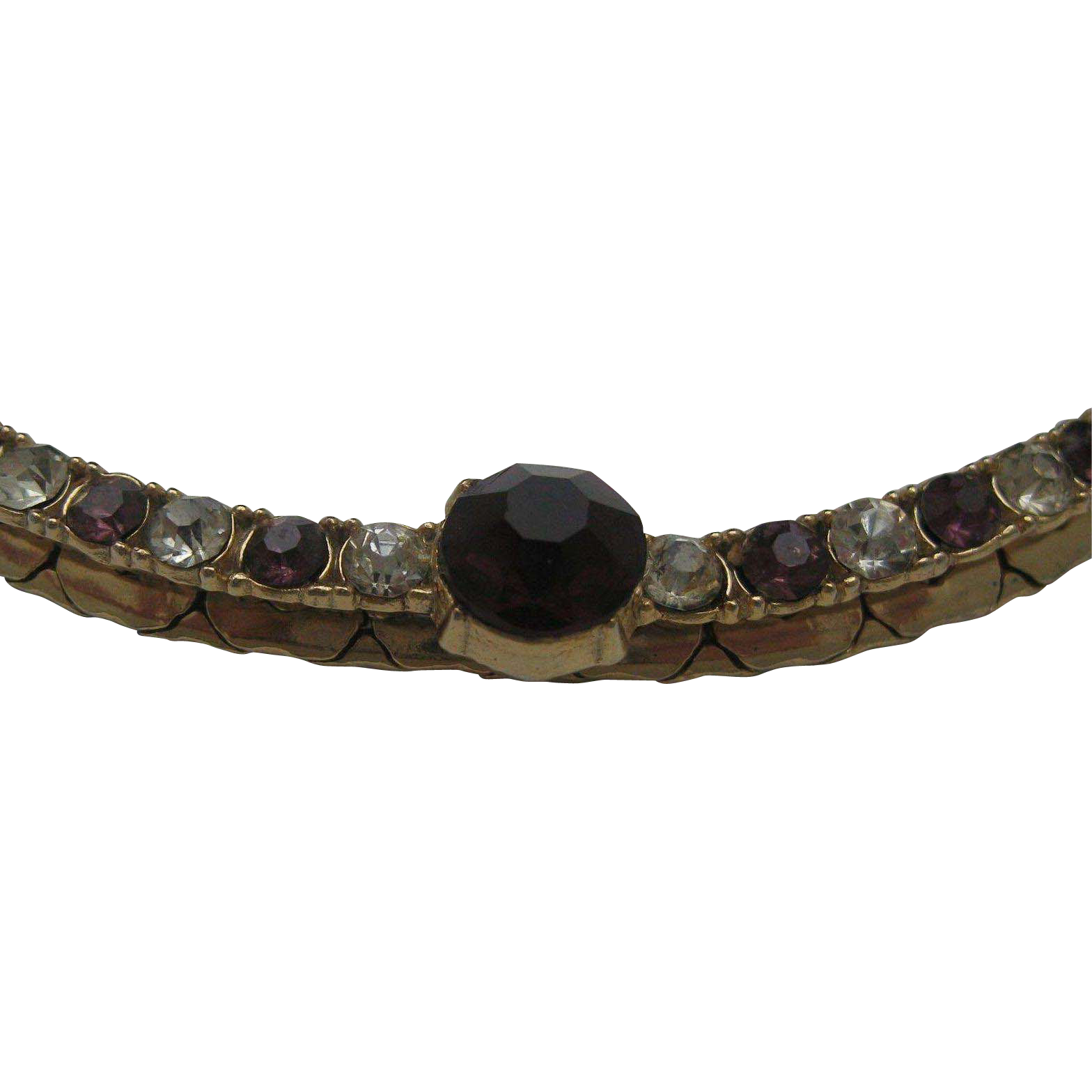 Delicate Amethyst Rhinestone Choker Necklace