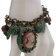 Unusual Verdigris Charm Bracelet Cameo Locket
