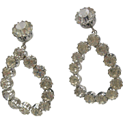 1960 Clear Rhinestone Drop Earrings Pierced