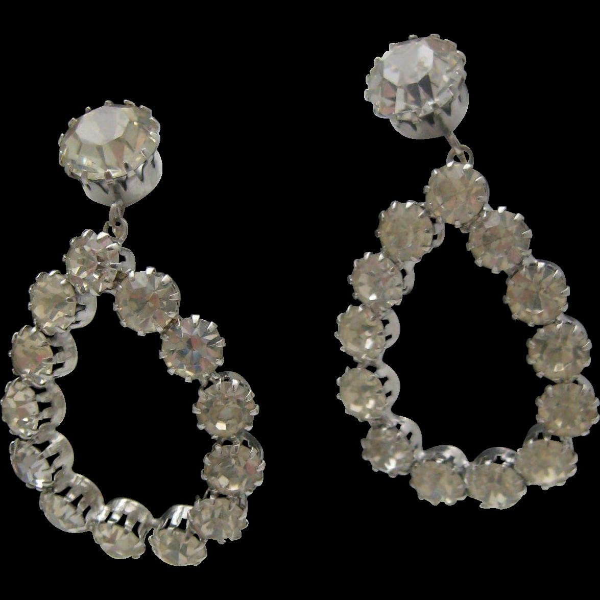 1960 Pierces Clear Rhinestone Drop Earrings