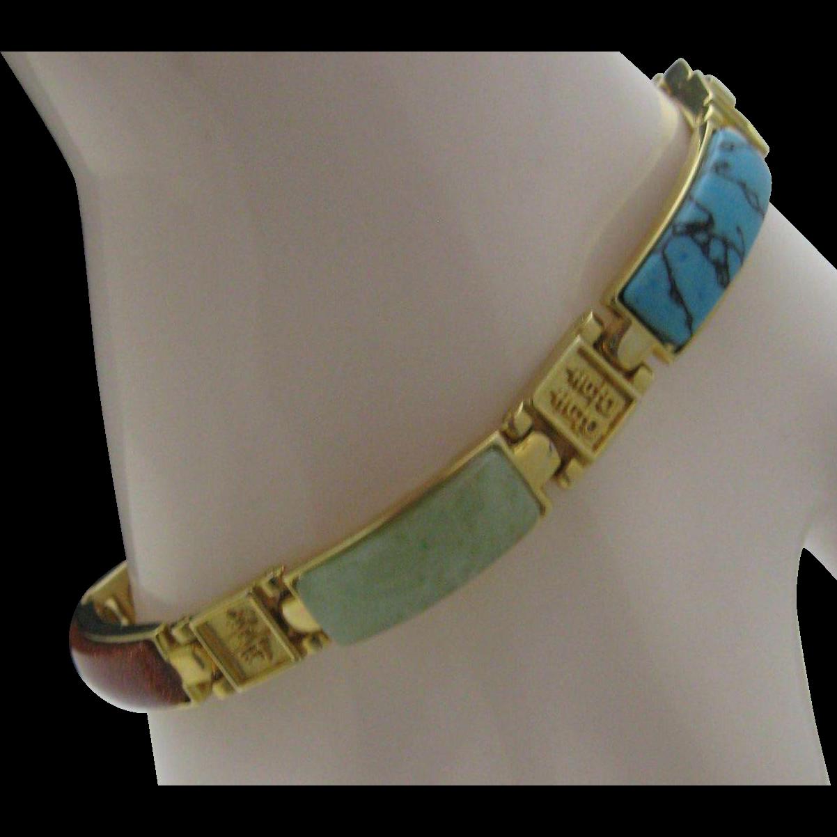 c1970 Multi Gem Oriental Bracelet