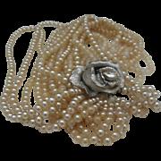 Seven Strand Faux Pearls Rose Rhinestone Catch 1980
