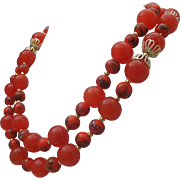 Italian Glass Necklace 30 inches 1970