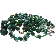 Jade Malachite 1950 3 Strand Necklace