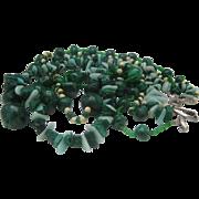 Jade Malachite 1950 3 Strand Necklace