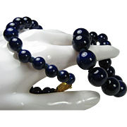 Cobalt Glass Bead Necklace 24 inches c1970