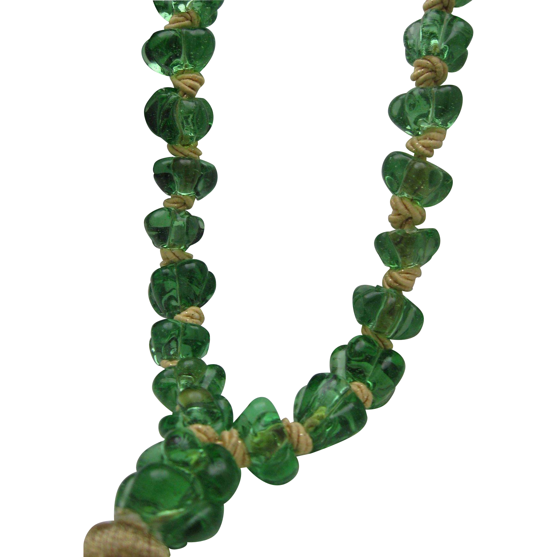 UNISEX Green Glass Worry Bead Necklace