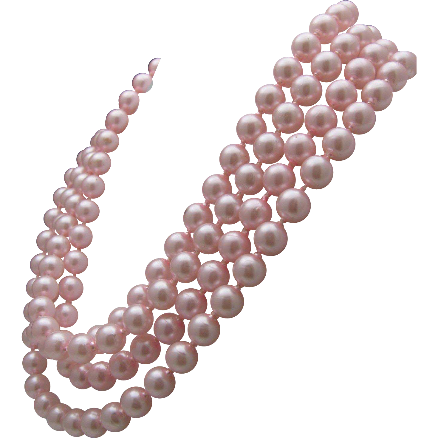 Pink Faux Pearl Flapper necklace 70 inches