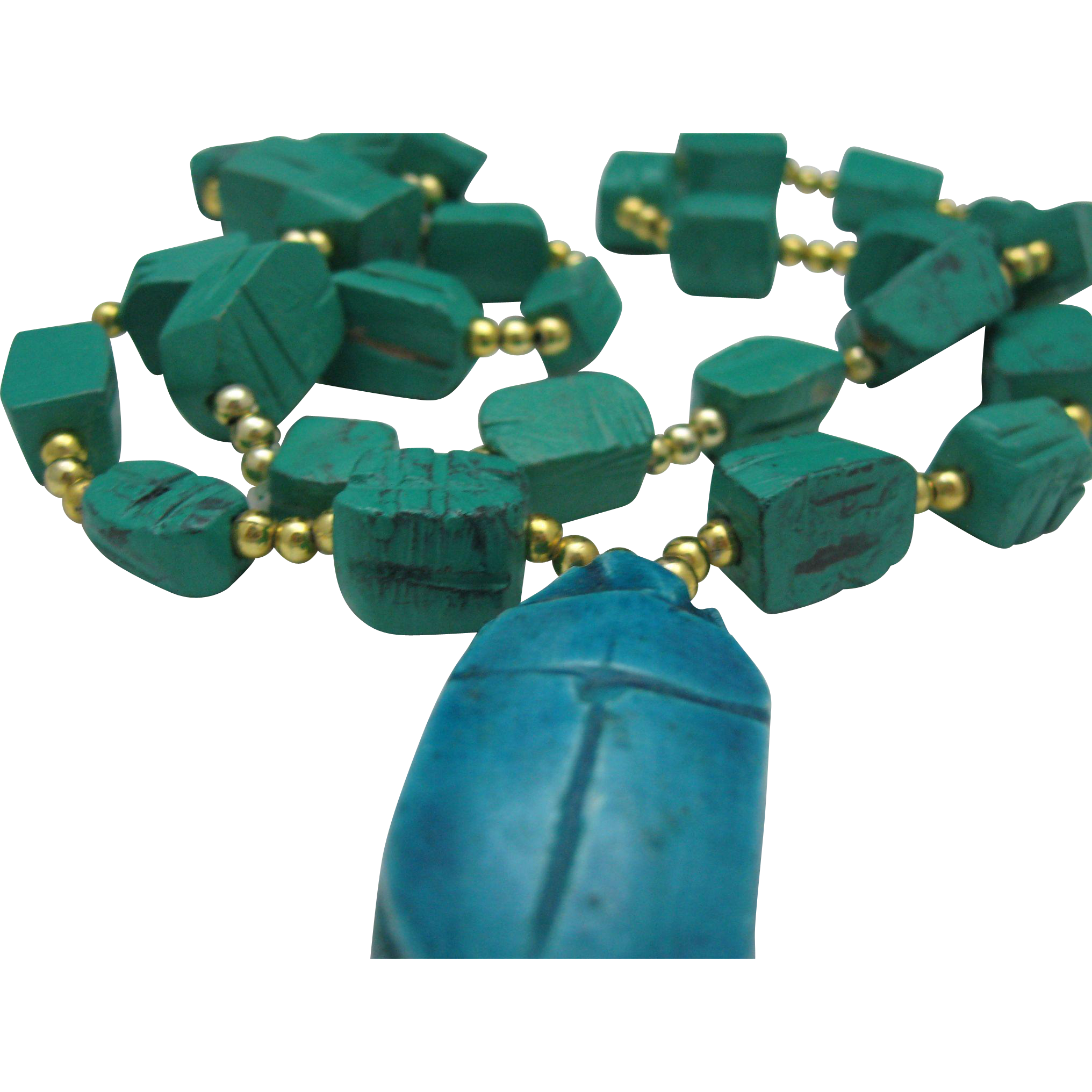 Egyptian Revival Faience Scarab Necklace