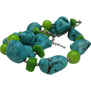 Lovely Turquoise Chunk and Green Glass Necklace 20 inches
