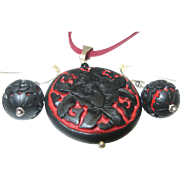 Black Cinnabar Pendant Earrings Set
