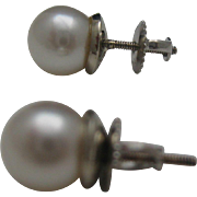 18 kt Mikimoto Pearl Stud Earrings c1974 Appraisal 1000