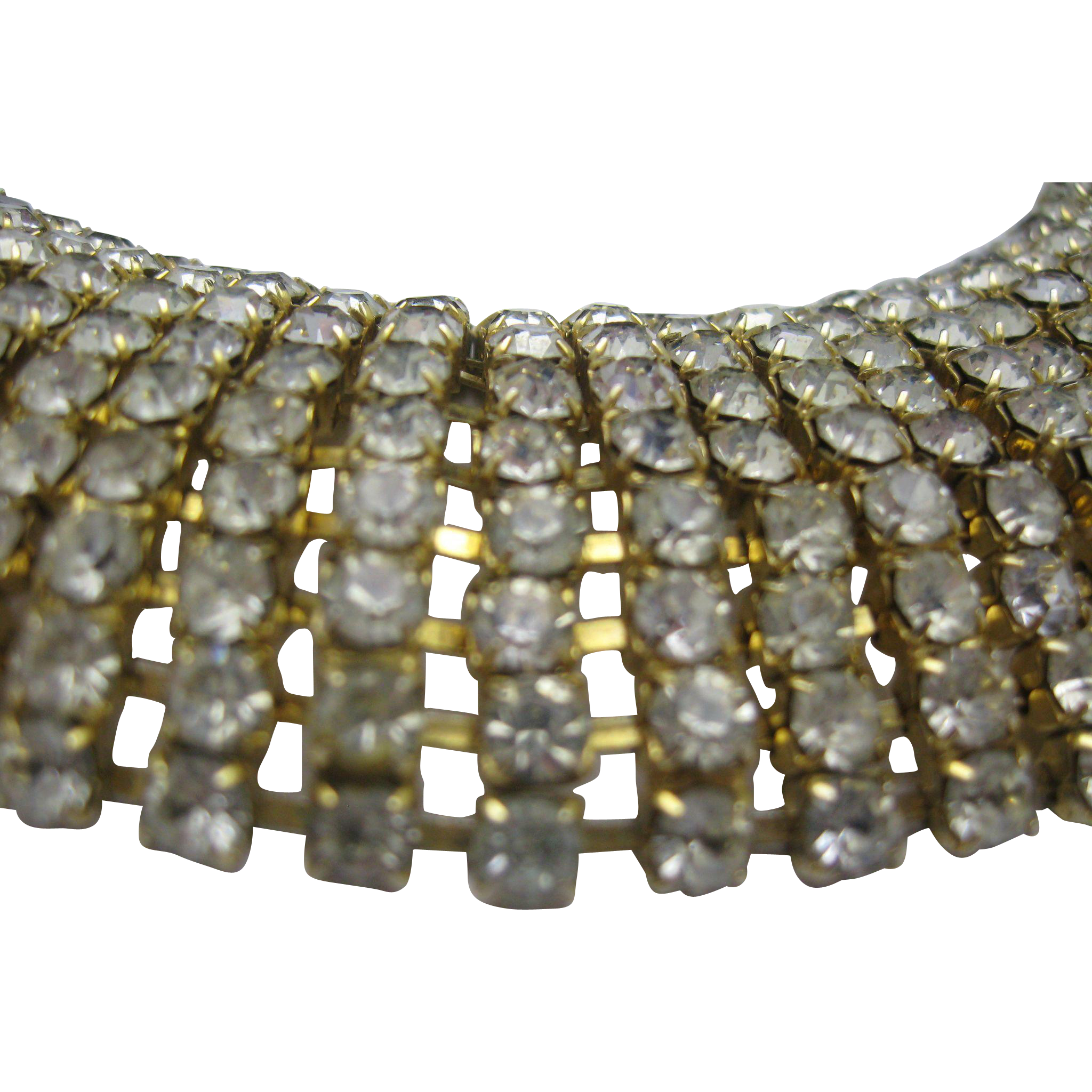 Domed Clear Rhinestone Cocktail Bracelet 1960