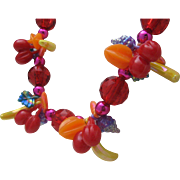 Fruit Salad Plastic Necklace c1960 Hong Kong