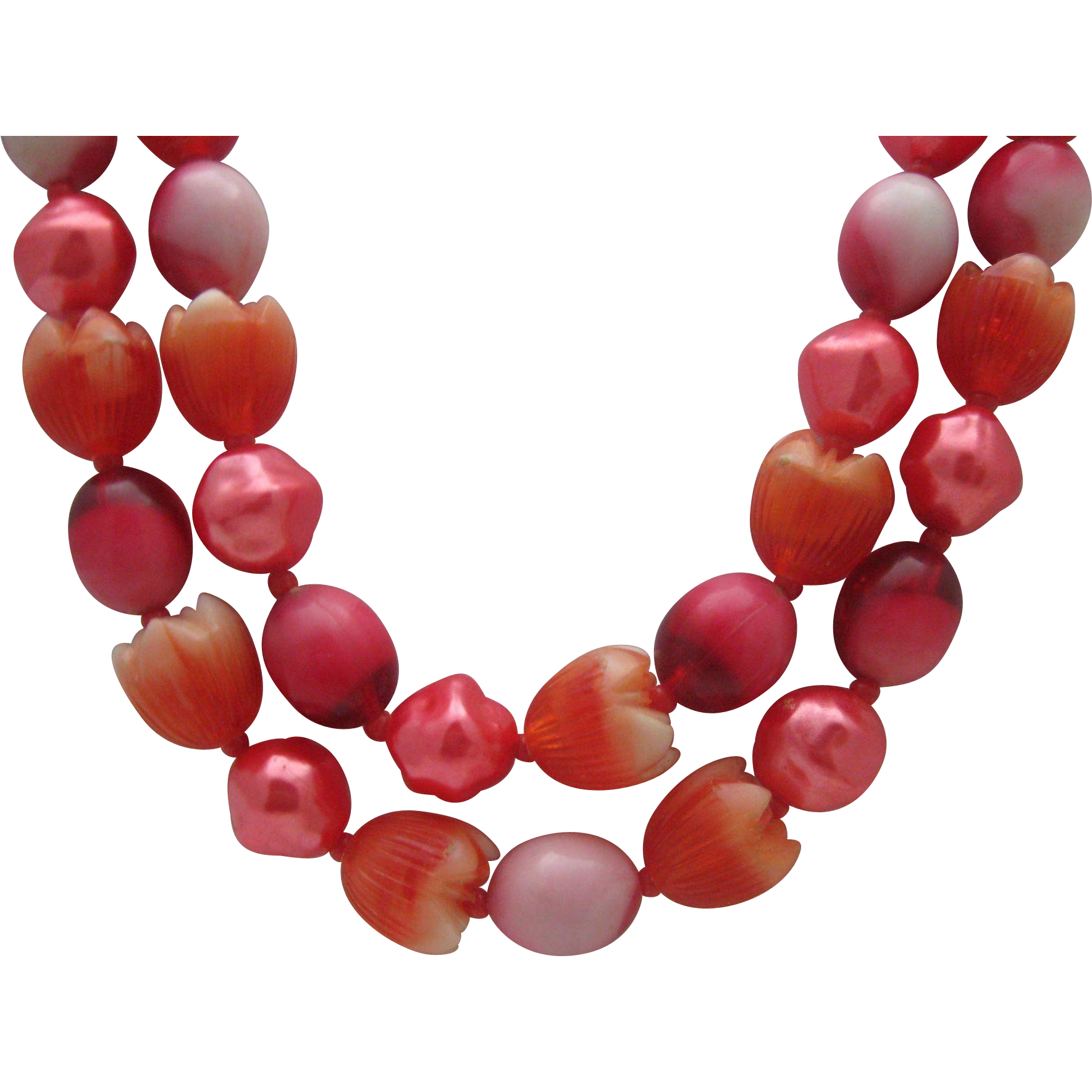 Coral  Tulip Plastic Necklace !960