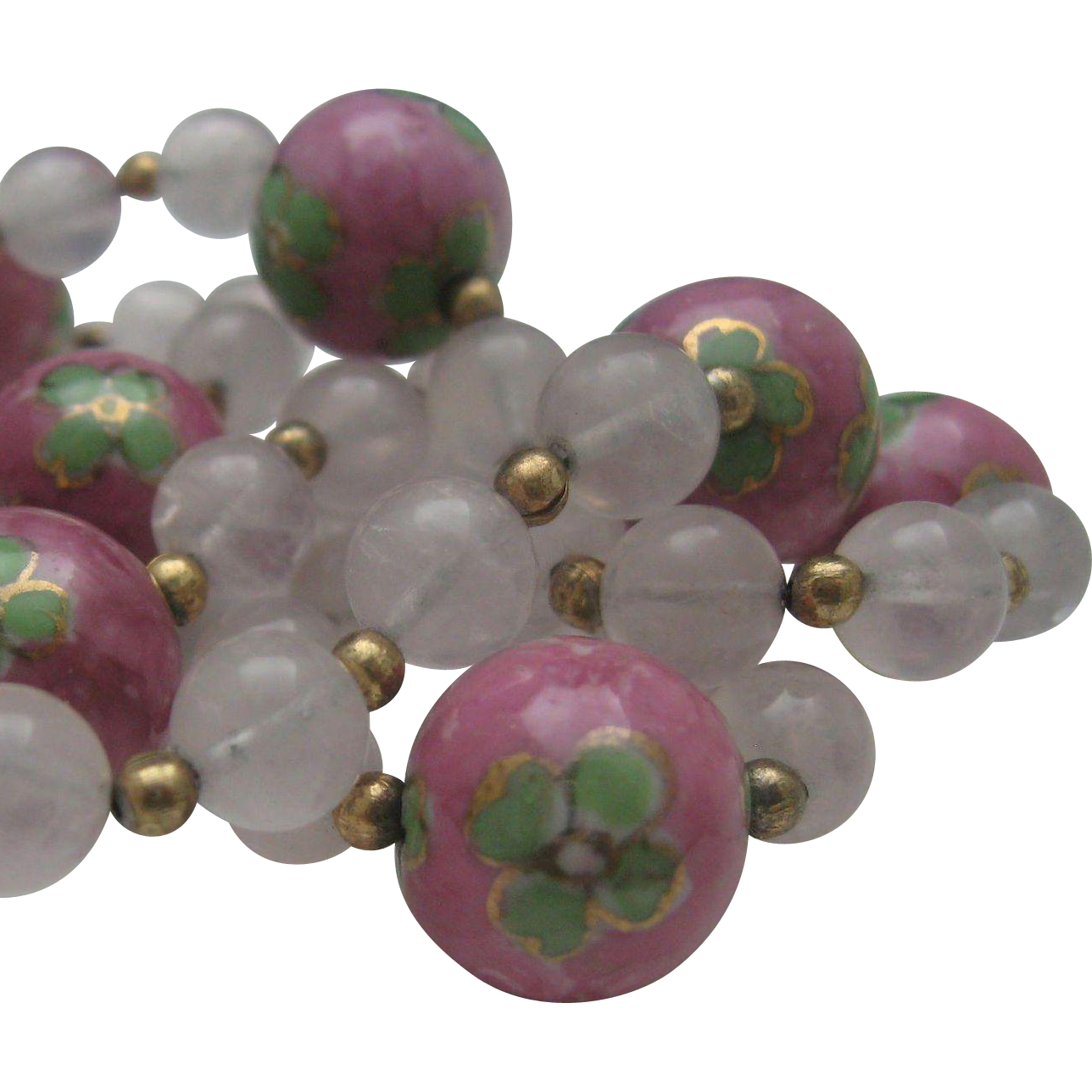 Chinese Export Rose Quartz and Pink Cloisonne necklace