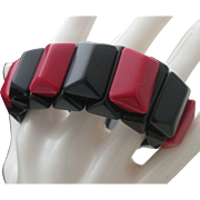 Art Deco Red Black celluloid Stretch Bracelet