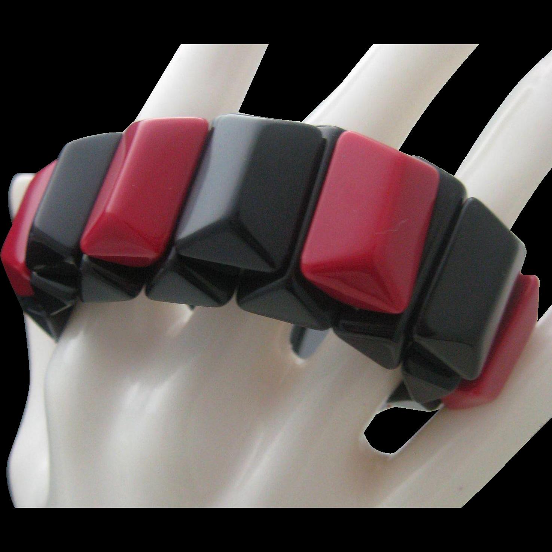 Art Deco Red Black celluloid Stretch Bracelet