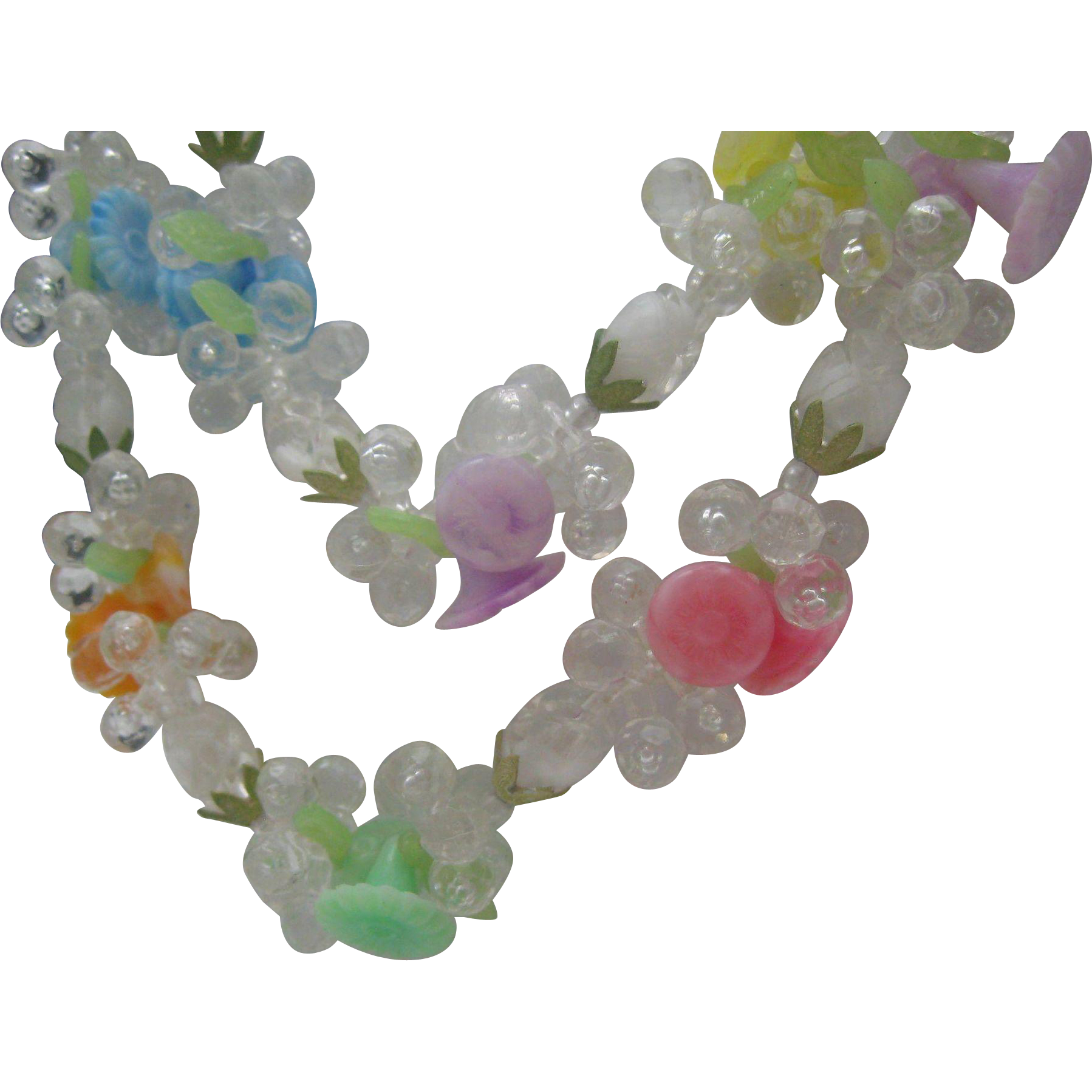 1960 Plastic Floral Necklace Hong Kong