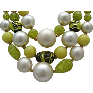 Black Yellow Glass Necklace Japan 1960