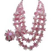 Peony Pink Plastic Necklace Set West Germany
