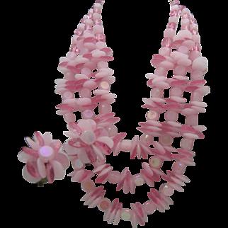 Peony Pink Plastic Necklace Set West Germany