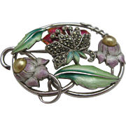 Art Nouveau Sterling Enameled Brooch