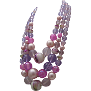 Lilac Marbled Plastic Necklace 1960