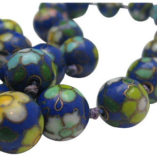 Chinese Export Cloisonne Necklace 1960 32 inches