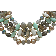 Aquamarine Rhinestone Crystal Necklace c1980