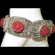Chinese Export Cinnabar Filigree Bracelet c1920