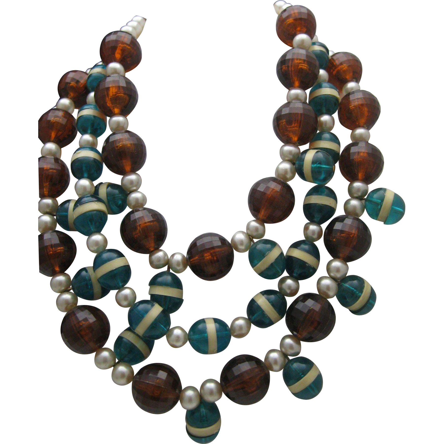 Lucite 3 Strand Necklace Earrings 1980