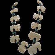 Buffalo Bone Turquoise Fetish Necklace