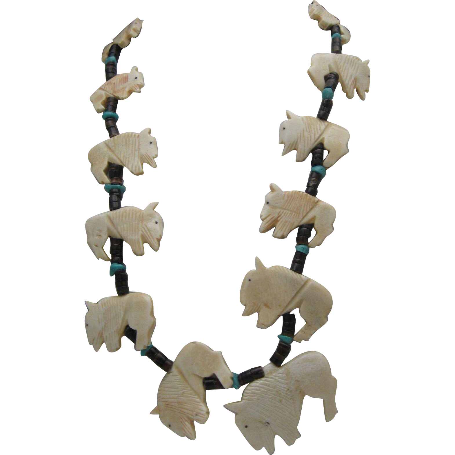 Buffalo Bone Turquoise Fetish Necklace