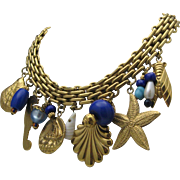 Fabulous Nautical Golden Charm Necklace c1980