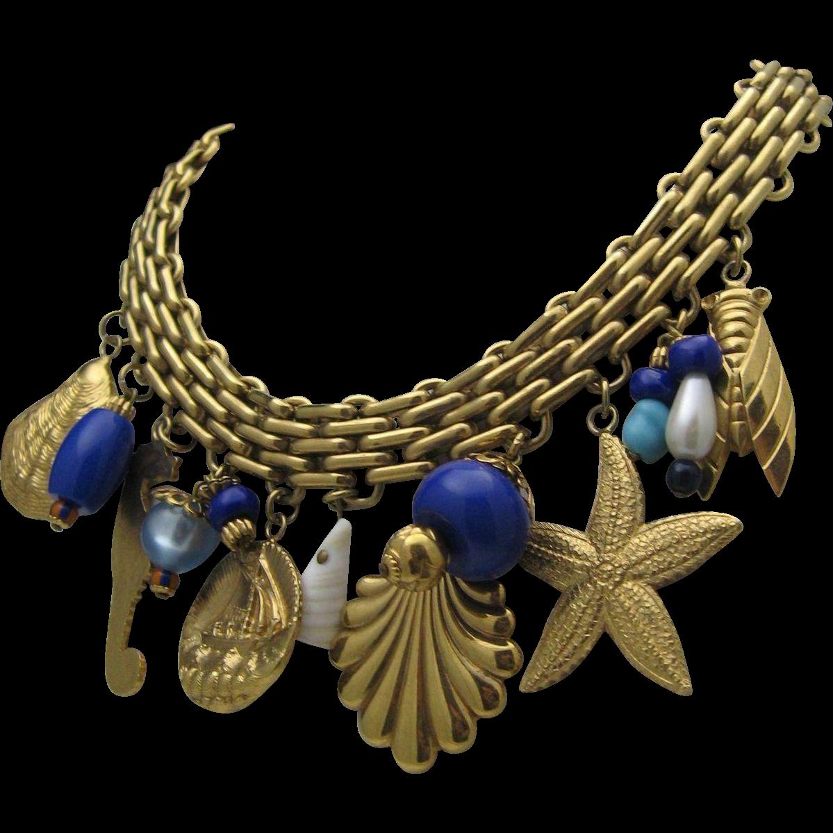 Fabulous Nautical Golden Charm Necklace c1980