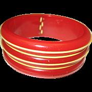 C1940 Red Bakelite Laced Bracelet