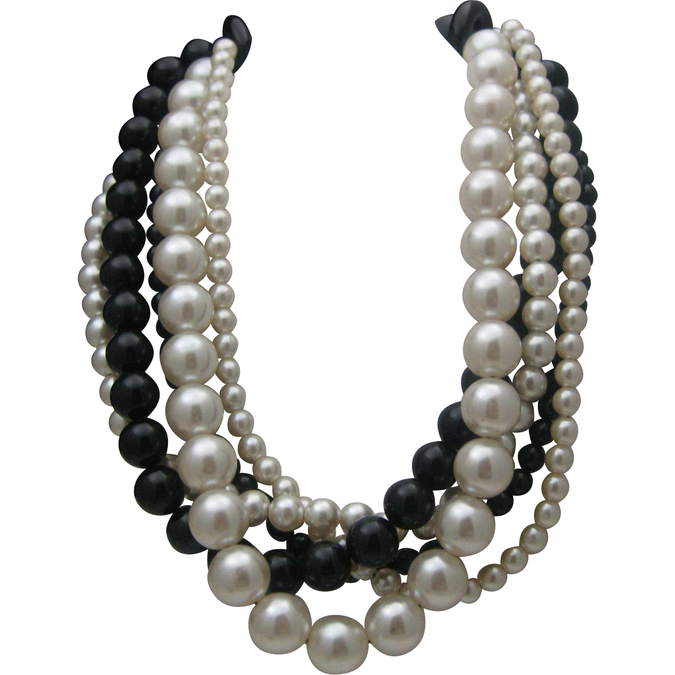 5 Strands Faux Pearls Celluloid Necklace 1980