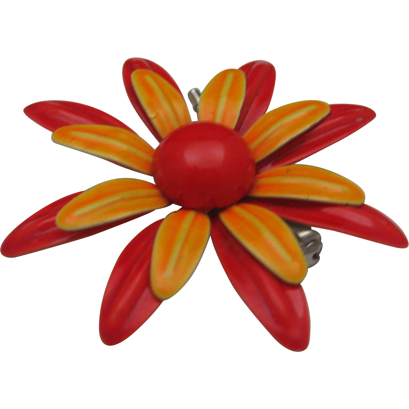Huge Metal Daisy Brooch 1960