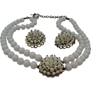 C1950 Milk Glass Choker Necklace earrings set