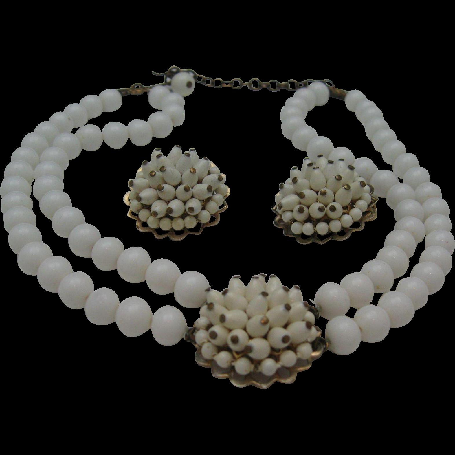 C1950 Milk Glass Choker Necklace earrings set