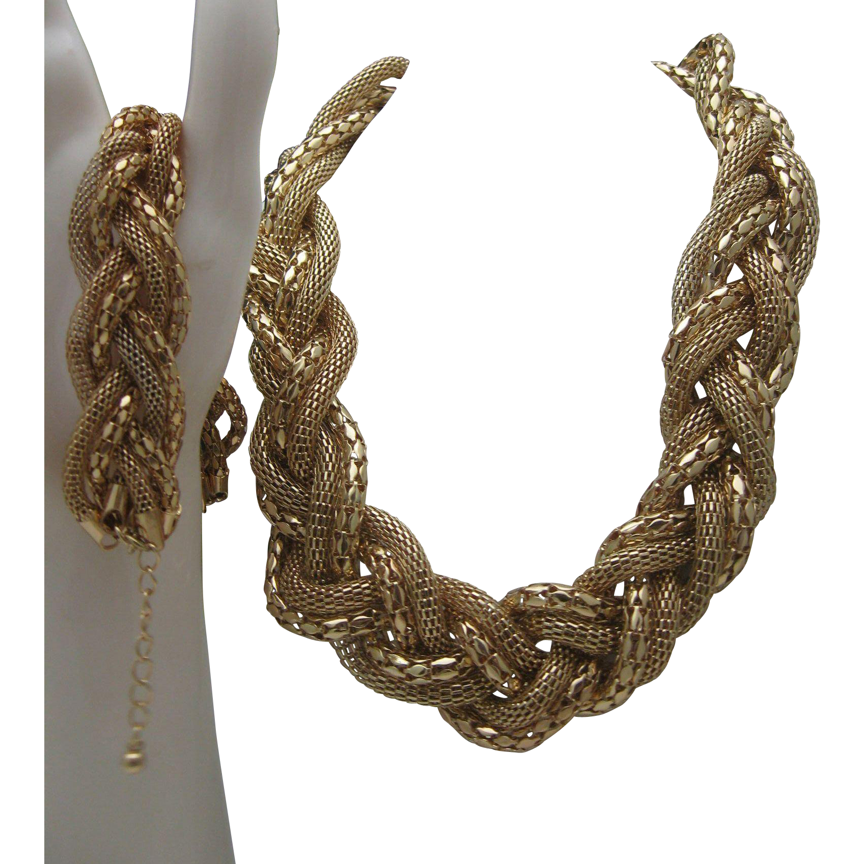 Braided Golden Mesh Goldtoned Necklace Bracelet